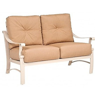 Woodard Bungalow Loveseat w/ Cushions; Canvas Palm
