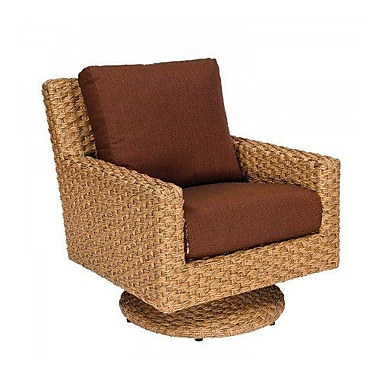 Woodard Mona Swivel Patio Chair w/ Cushions; Summit Peony