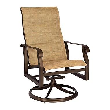 Woodard Cortland Padded Sling High-Back Swivel Rocking Chair; Augustine Nutmeg