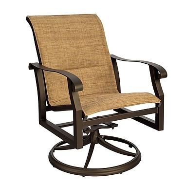 Woodard Cortland Padded Sling Swivel Rocking Chair; Garnet Flex Sling