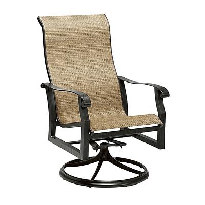 Woodard Cortland Sling High-Back Swivel Rocking Chair; Sailing Salt