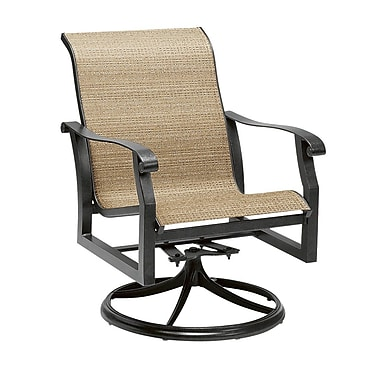 Woodard Cortland Sling Swivel Rocking Chair; Elegance