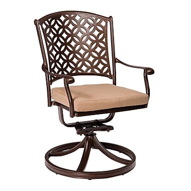 Woodard Casa Rocking Swivel Patio Dining Chair w/ Cushion; Brisa Distressed Dove Gray