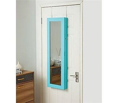 Ebern Designs Ahern Over The Door Jewelry Armoire w/ Mirror; Aqua