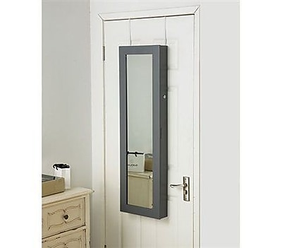 Ebern Designs Ahern Over The Door Jewelry Armoire w/ Mirror; Gray