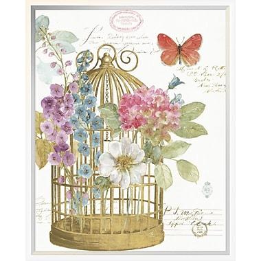 East Urban Home 'Rainbow Seeds Romantic Birdcage II' Framed Graphic Art Print; 20'' H x 16'' W