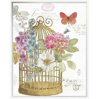 East Urban Home 'Rainbow Seeds Romantic Birdcage II' Framed Graphic Art Print; 24'' H x 20'' W