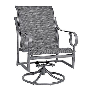 Woodard Ridgecrest Sling Swivel Rocking Chair; Pewter