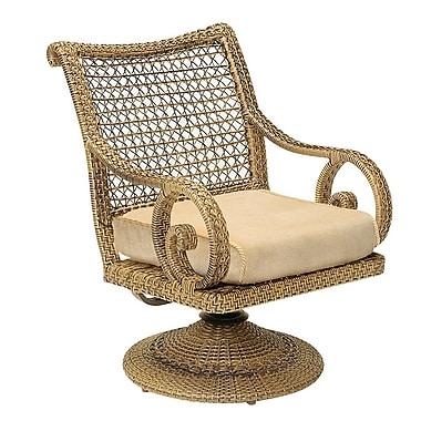 Woodard South Shore Swivel Rocking Chair w/ Cushions; Canvas Chestnut