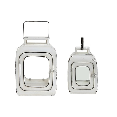 One Allium Way Truck Ship 2 Piece Metal and Glass Lantern Set