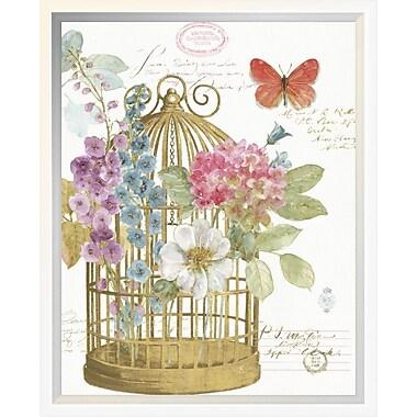 East Urban Home 'Rainbow Seeds Romantic Birdcage II' Framed Graphic Art Print; 14'' H x 11'' W