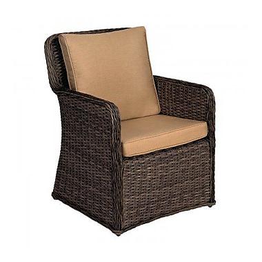 Woodard Bay Shore Patio Dining Chair w/ Cushion; Canvas Bird's Eye