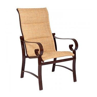 Woodard Belden Padded Sling High-Back Patio Dining Chair; Pewter