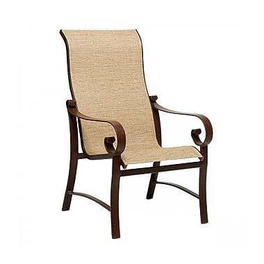 Woodard Belden Sling High-Back Patio Dining Chair; Augustine Gravel
