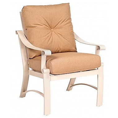 Woodard Bungalow Patio Dining Chair w/ Cushion; Paris Honeydew