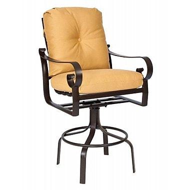 Woodard Belden Swivel 34'' Bar Stool w/ Cushion; Canvas Palm