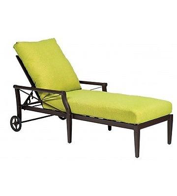 Woodard Andover Adjustable Chaise Lounge w/ Cushion; Bazaar Caf