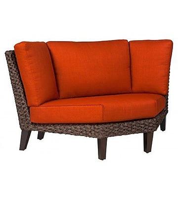 Woodard Mona Wedge Corner Sectional Piece w/ Cushions; Brisa Distressed Dove Gray