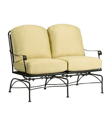 Woodard Fullerton Dual Spring Rocking Sofa w/ Cushions; Canvas Iris