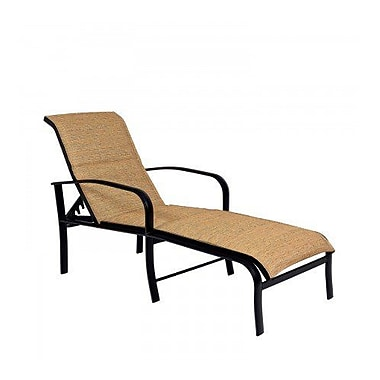 Woodard Fremont Padded Sling Adjustable Chaise Lounge; Augustine Gravel