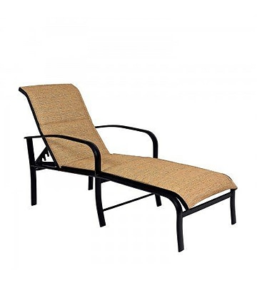 Woodard Fremont Padded Sling Adjustable Chaise Lounge; Chocolate Flex Sling