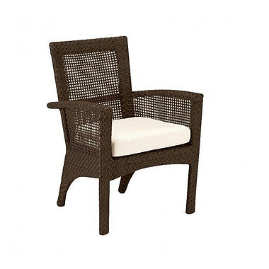 Woodard Trinidad Patio Dining Chair w/ Cushion; Brisa Distressed Chamois