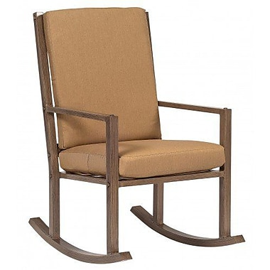 Woodard Woodlands Large Rocking Chair w/ Cushions; Brisa Distressed Dove Gray