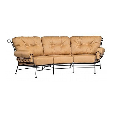 Woodard Terrace Crescent Sofa w/ Cushions; Paris Blush