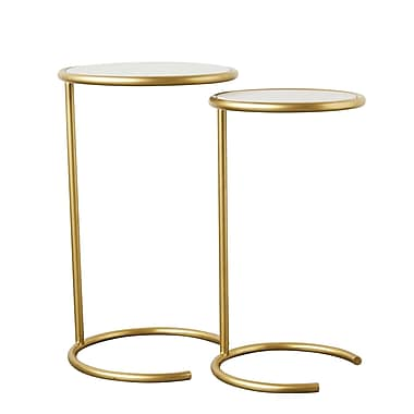Mercer41 Upham Metal and Marble 2 Piece Nesting Tables
