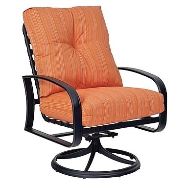 Woodard Cayman Isle Swivel Rocking Patio Chair w/ Cushions; Summit Peony