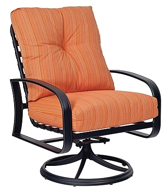 Woodard Cayman Isle Swivel Rocking Patio Chair w/ Cushions; Brisa Distressed Chamois