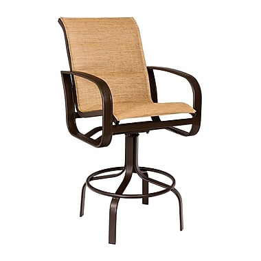 Woodard Cayman Isle Padded Sling Swivel 29.8'' Bar Stool; Sailing Salt