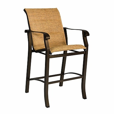 Woodard Cortland Padded Sling Stationary 29'' Bar Stool; Garnet Flex Sling