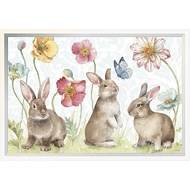 East Urban Home 'Spring Softies Bunnies I' Framed Print; 12'' H x 18'' W