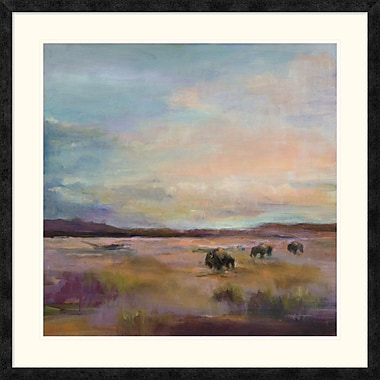 East Urban Home 'Buffalo Under Big Sky' Framed Print; 30'' H x 30'' W
