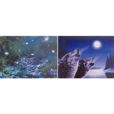 2 Piece Fairy Forest and Wolves Howling at Moon Illuminated Canvas Painting Wall D cor Set
