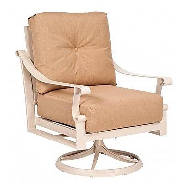Woodard Bungalow Rocking Swivel Patio Dining Chair w/ Cushion; Canvas Navy