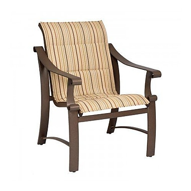 Woodard Bungalow Padded Sling Patio Dining Chair; Sailing Salt