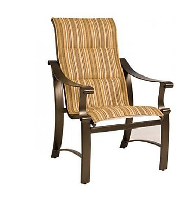 Woodard Bungalow Padded Sling High-Back Patio Dining Chair; Porcelain