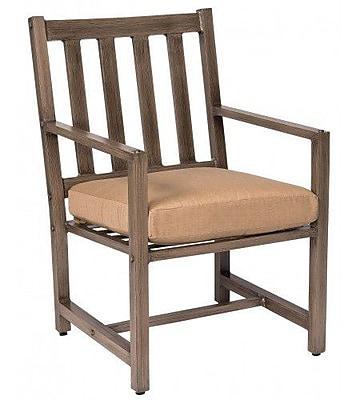 Woodard Woodlands Patio Dining Chair w/ Cushion; Bevel Indigo