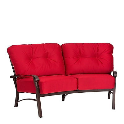 Woodard Cortland Crescent Loveseat w/ Cushions; Brisa Distressed Chamois