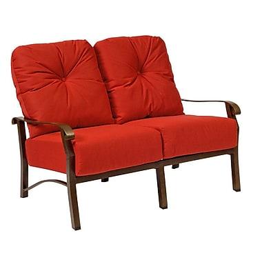 Woodard Cortland Loveseat w/ Cushions; Canvas Chestnut