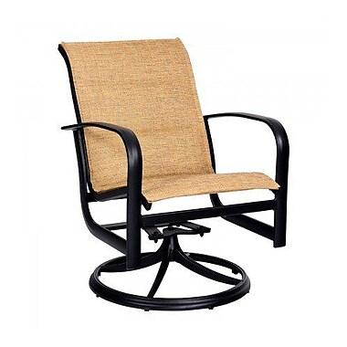 Woodard Fremont Padded Sling Rocker Swivel Patio Dining Chair; Pewter