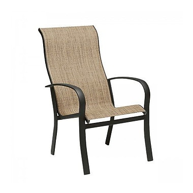 Woodard Fremont Sling High-Back Stacking Patio Dining Chair; Augustine Nutmeg