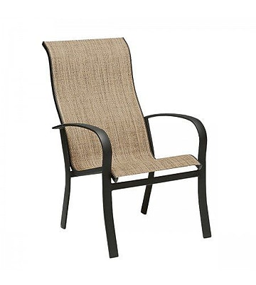 Woodard Fremont Sling High-Back Stacking Patio Dining Chair; Porcelain