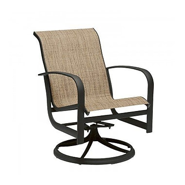 Woodard Fremont Sling Rocker Swivel Patio Dining Chair; Charcoal Flex Sling