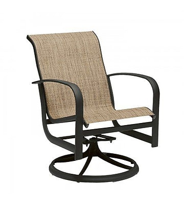 Woodard Fremont Sling Rocker Swivel Patio Dining Chair; Sailing Salt