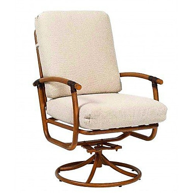 Woodard Glade Isle Rocker Swivel Patio Dining Chair w/ Cushion; Summit Peony