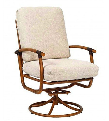 Woodard Glade Isle Rocker Swivel Patio Dining Chair w/ Cushion; Bazaar Caf