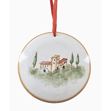 The Holiday Aisle Hand Formed and Painted Ceramic Christmas Round Shaped Ornament